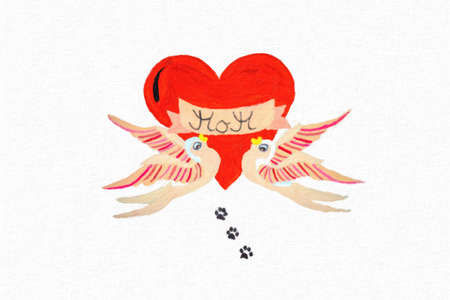 Drawing with two birds, a red heart and the words Mom Stok Fotoğraf