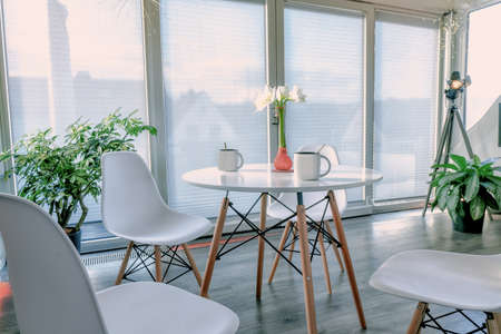 A nice bright living area in a chic furnished apartment loft Stok Fotoğraf