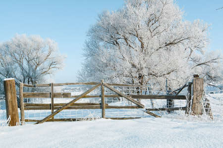 A snow-covered wooden gate in a sunny winter landscape Stok Fotoğraf