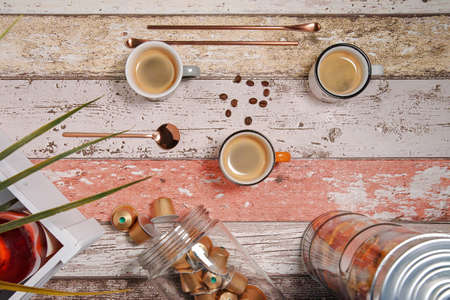 Three colorful cappuccino cups stand on a decorating table Stok Fotoğraf