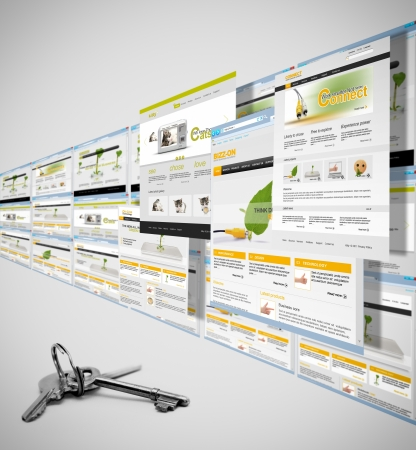 Concept of successful websites and a key Stock Photo