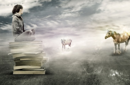 Girl sitting on books and waching at two magic horses Stock Photo - 10452482