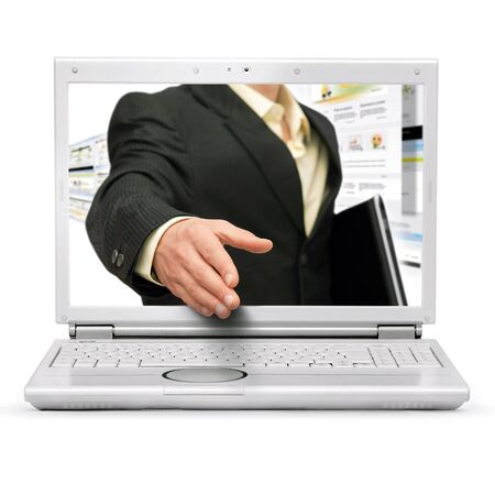 web store: Online business handshake on white background Stock Photo