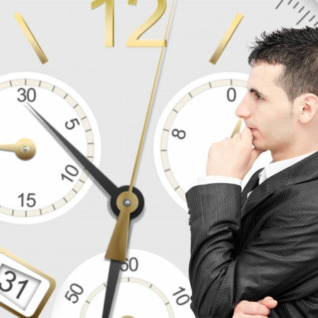 Businessman thinking to much and losing time