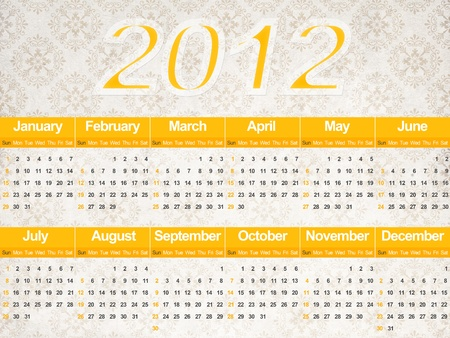 Beautiful calendar of the year two thousand and twelve photo