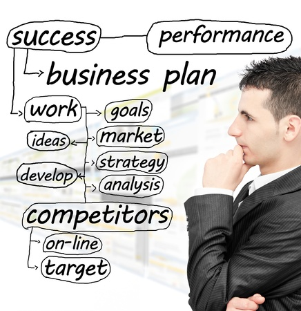 새로운 사업을 계획하는 젊은 사업가 스톡 콘텐츠