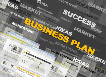 financials: Business collage with text and web pages Stock Photo