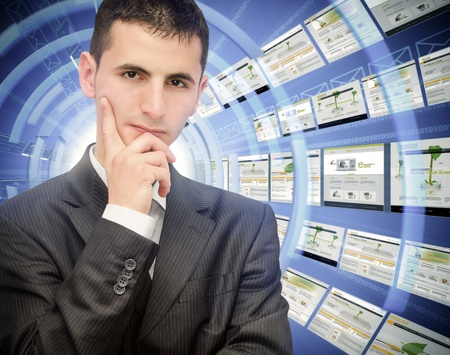 Young businessman thinking at expanding his business Stock Photo - 12341660