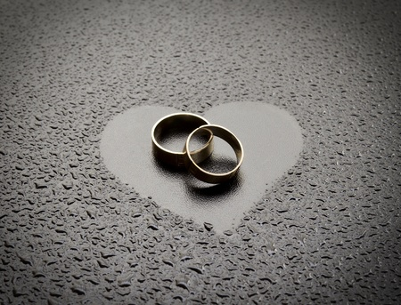 Two rings on dark background