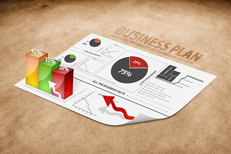Diagram of a 3d business plan on brown paper photo