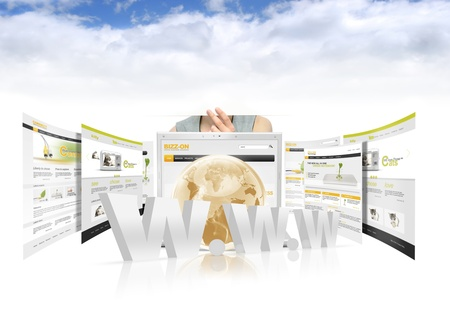 Cloud computing concept with laptop and websites photo