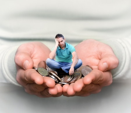 Concept of people who do not know what to do with money Stock Photo - 14679882