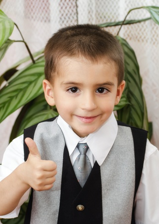 vertica: Cheerful little boy with thumbs up Stock Photo