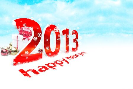 Illustration of the new year 2013 with snow Stock Photo