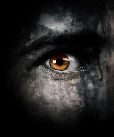Demonic eye looking at you.Texture was added for the benefit of composition Stock Photo