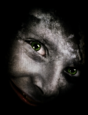 perverse: Halloween theme with a spooky monster looking at camera Stock Photo