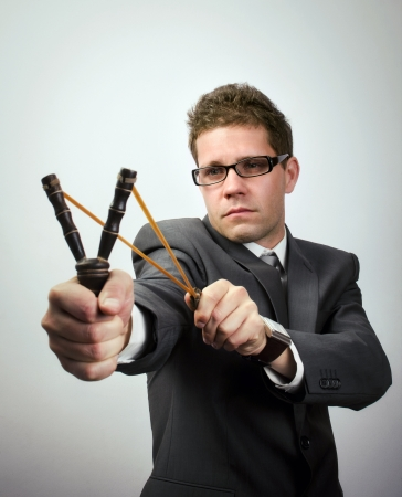 Young businessman aiming performance Stock Photo - 16546653