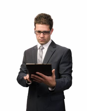 Businessman working on a digital tablet Stock Photo - 16571755