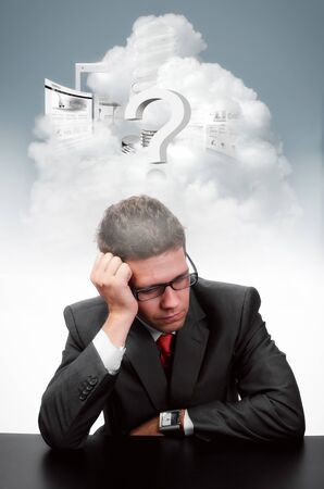 Businessman who is thinking about a solution for his business Stock Photo - 17154350