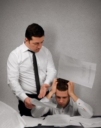 subordinate: Nervous boss argue his subordinate in office