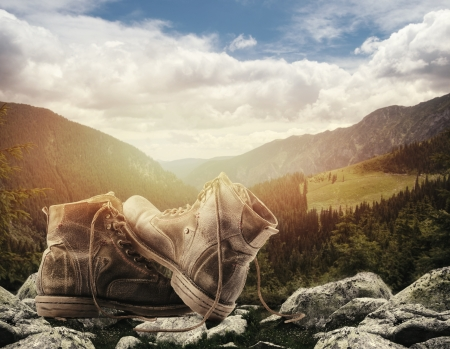 hiking shoes: Concept illustrating the freedom of hiking