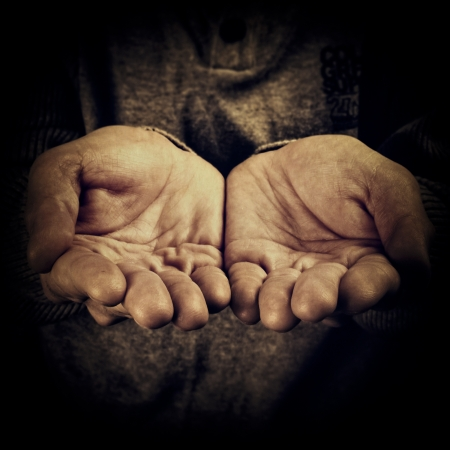 tramp: hand of a person begging