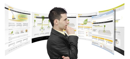 Businessman surrounded by web sites and analyzing  isolated on white background-NOTE:All webpages used for this collage are created by me.You can see the photos used in my galery Stock Photo - 20080895
