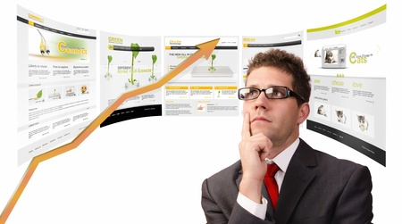 Businessman planning his strategy online.All website are created by me.You can see the photos used in my galery Stock Photo - 21139781