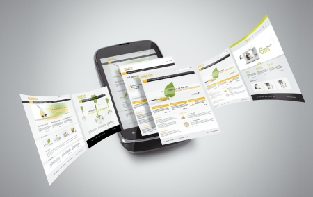 Smart phone with internet pages going out from it..Note:All webpages are created by me Stock Photo