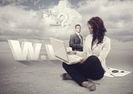 Man and businesswomen outside working with cloud computing.All elements can be found in my portfolio photo