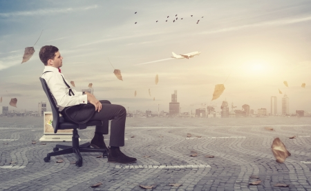Businessman taking a break from the chaos of the city