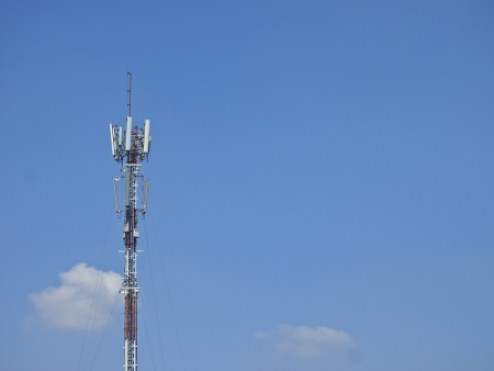 antenna tower in blue sky Stock Photo
