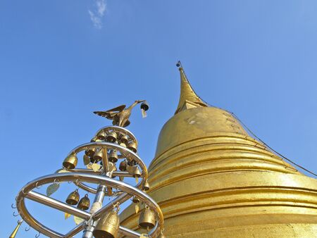 golden pagoda and swan Stock Photo