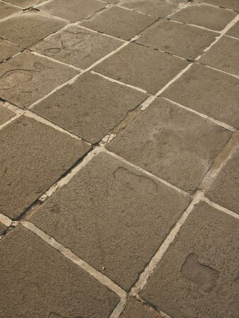 floor of stone antique footpath in thailand temple Stock Photo
