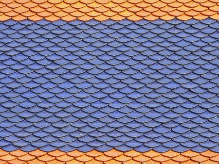 part of colorfull roof of thai temple in sunlight Stock Photo