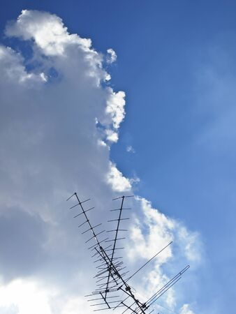 antenna of television is high in the sky