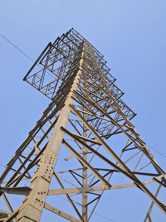 steel structure of main electricity post in clear sky Stock Photo