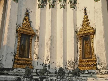 building external: decorate of external temple building by golden frame design