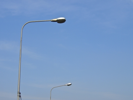 perspective of street lamp in sunny day photo