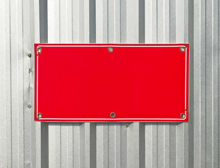 blank red Metal label for design work