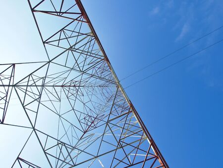 structure of hight voltage frame in blue sky