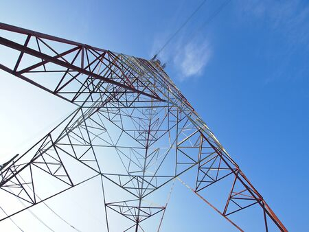 view of beautiful high voltage frame in sunny day photo
