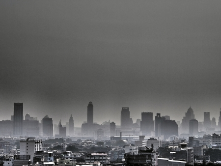 pollution image of Bangkok city in grey tone Stock Photo