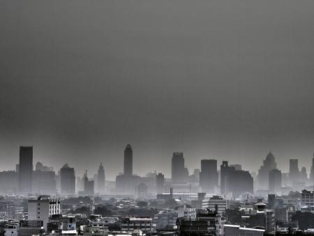 pollution image of Bangkok city in grey tone Stock Photo