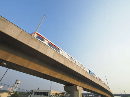view of high speed skytrain of Bangkok city Thailand in daytime