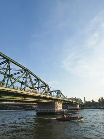 chao phraya river: view of steel bridge across the Chao Phraya river Bangkok Thailand