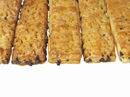 texture of stick bread in row on white background