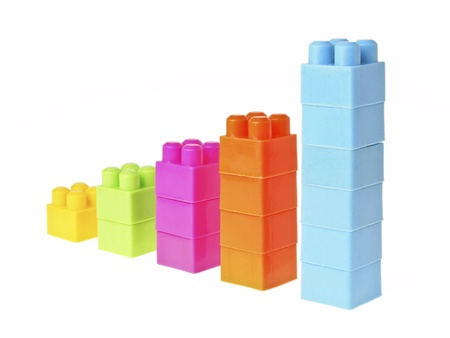 perspective of increase color column in brick toy style on white background photo