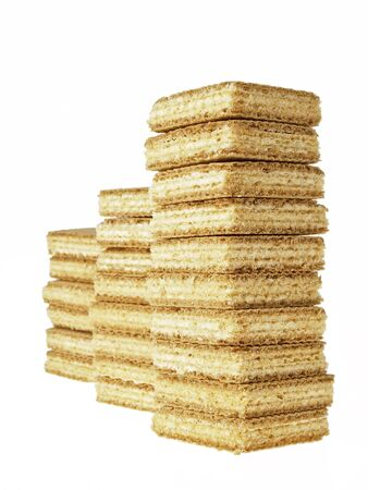arrange of stack wafers candy on white background photo