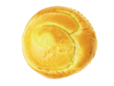 isolation image of  thai custard filled bun from top view